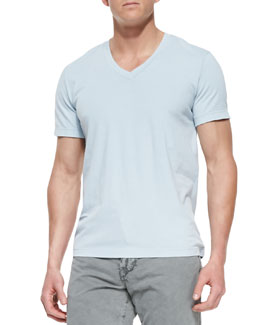 James Perse Short-Sleeve V-Neck Tee, Lt Blue