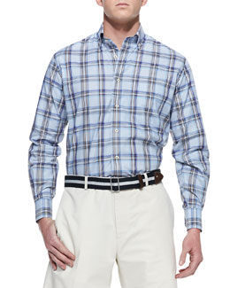 Peter Millar Amalfi Plaid Sport Shirt, Blue