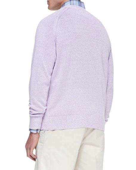 Linen/Cotton Crewneck Sweater, Pink