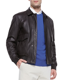 Loro Piana Leather Aviator Bomber Jacket, Dark Brown