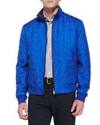 Quilted Reversible Bomber Jacket, Cobalt/Navy Mini-Tonal Houndstooth