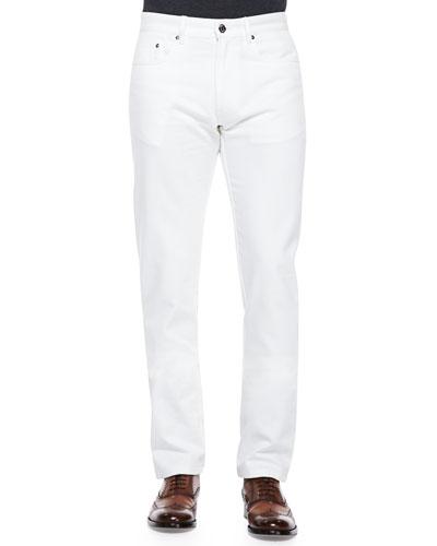 """Brioni Scanno """"B"""" Logo Pants, White"""