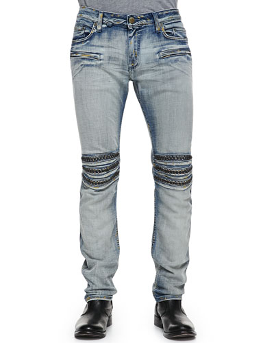 Robin's Jean Gold Miner Motor Faded Studded Jeans