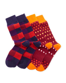 Arthur George by Robert Kardashian 2-Pair Men's Cashmere Socks Boxed Set, Navy/Berry/Multi