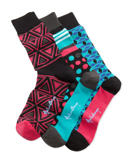 Arthur George by Robert Kardashian Boxed Set of Men's Socks, Pink/Turquoise/Multi