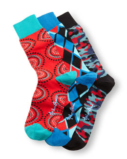 Arthur George by Robert Kardashian 3-Pair Men's Socks Boxed Set, Red/Blue/Multi