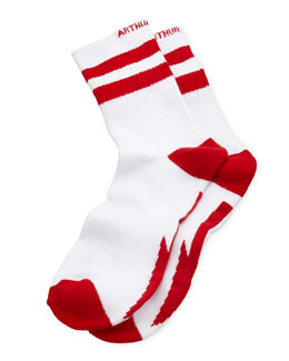 Arthur George by Robert Kardashian Down Arrow Men's Socks, White/Red