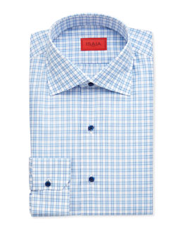 Isaia Large-Gingham Dress Shirt, Blue/White