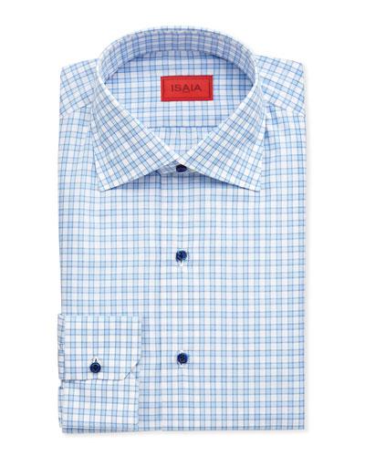 Isaia Large-Gingham Dress Shirt, Blue/White