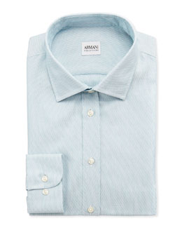 Armani Collezioni Textured Modern-Fit Dress Shirt, Aqua