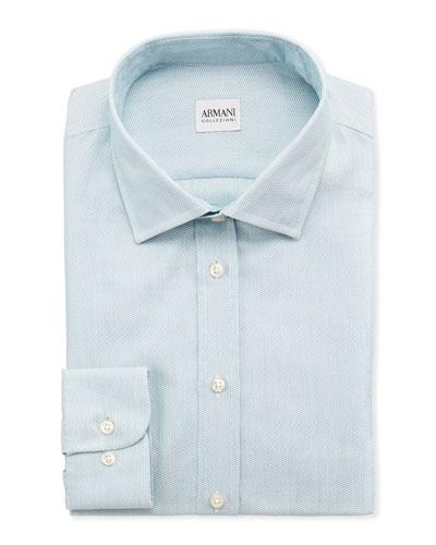 Armani Collezioni Textured Modern-Fit Dress Shirt, Aqua
