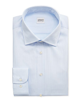 Armani Collezioni Double-Track Stripe Dress Shirt, Light Blue