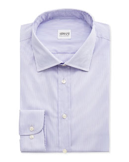 Armani Collezioni Micro-Striped Dress Shirt, Lavender/White