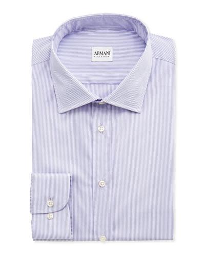 Armani Collezioni Micro-Striped Dress Shirt, Lavender/White