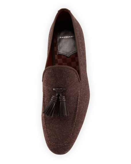 Flannel Tassel Loafer, Brown
