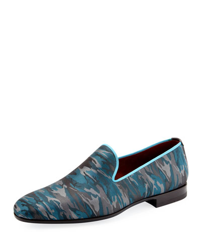 Magnanni for Neiman Marcus Camo-Print Slip-On Loafer, Teal