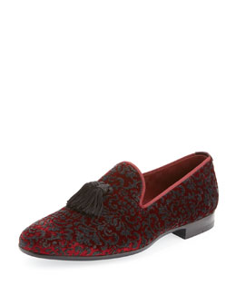 Magnanni for Neiman Marcus Velvet Slip-On Loafer, Burgundy
