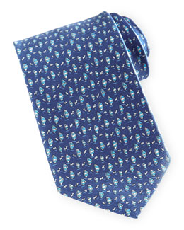 Salvatore Ferragamo Sailboat-Print Silk Tie, Blue