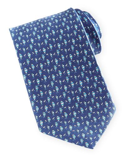 Salvatore Ferragamo Sailboat-Print Silk Tie, Blue