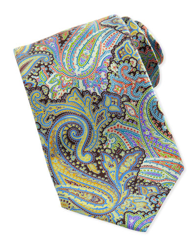Ermenegildo Zegna Quindici Paisley-Print Silk Tie, Green