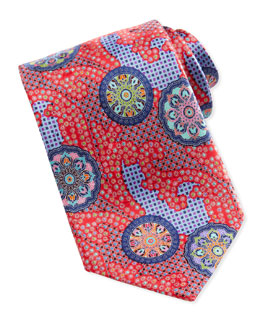 Ermenegildo Zegna Quindici Patchwork-Circle Silk Tie, Red