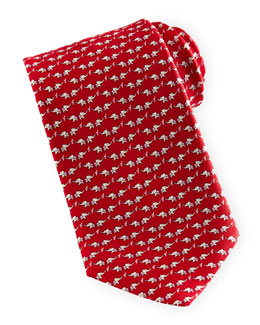 Salvatore Ferragamo Elephant-Print Silk Tie, Red