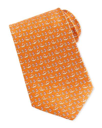 Salvatore Ferragamo Crab & Floral-Print Silk Tie, Orange