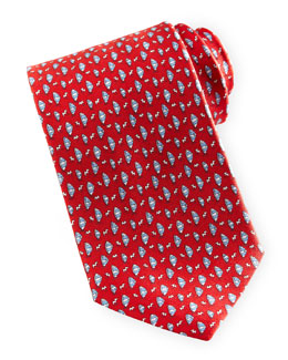 Salvatore Ferragamo Sailboat-Print Silk Tie, Red