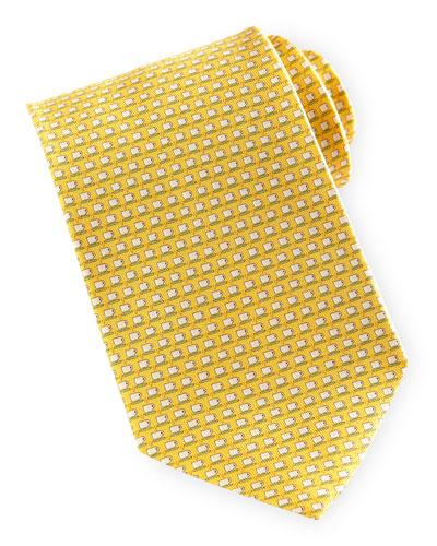 Salvatore Ferragamo Espresso-Cup-Print Silk Tie, Yellow