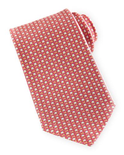 Salvatore Ferragamo Frog-Print Silk Tie, Pink
