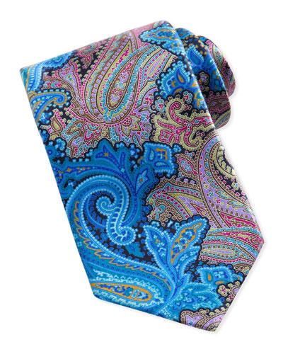 Ermenegildo Zegna Quindici Paisley-Print Silk Tie, Turquoise