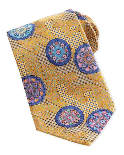 Ermenegildo Zegna Quindici Patchwork-Circle Silk Tie, Blue
