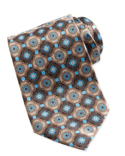 Ermenegildo Zegna Geometric-Floral Silk Tie, Taupe