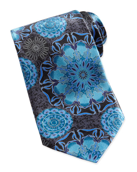 Large-Floral-Print Silk Tie, Black