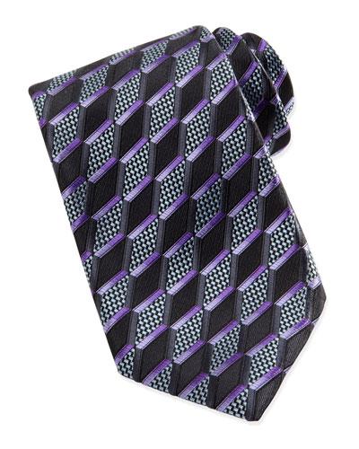 Ermenegildo Zegna 3-D Slanted Diamond Silk Tie, Charcoal