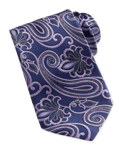 Ermenegildo Zegna Woven Rainbow-Paisley Silk Tie, Navy