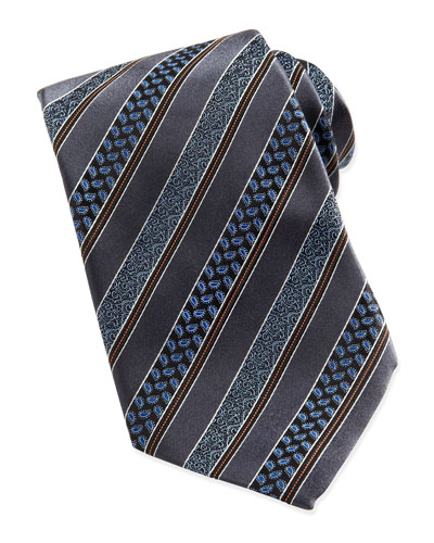 Ermenegildo Zegna Woven Satin-Paisley-Stripe Tie, Gray