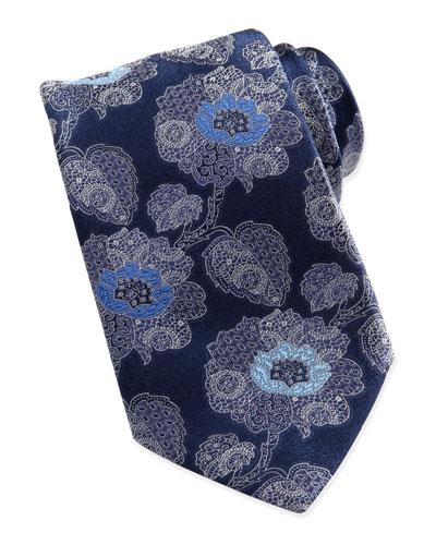 Ermenegildo Zegna Large Paisley-Floral Silk Tie, Navy