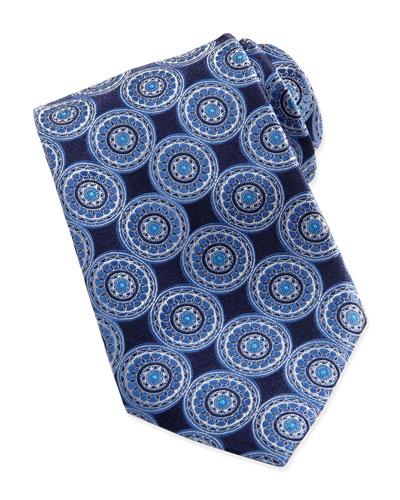 Ermenegildo Zegna Circle-Medallion Silk Tie, Navy
