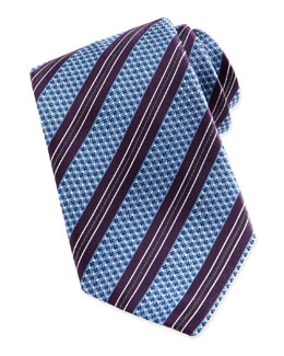 Ermenegildo Zegna Woven Textured Ground-Stripe Tie, Blue