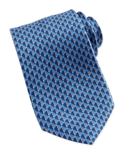 Ermenegildo Zegna Shell Neat Silk Tie, Blue