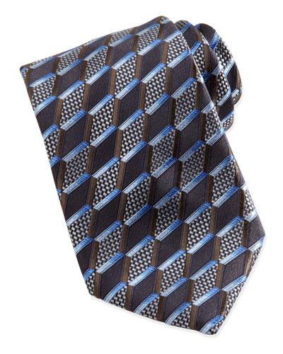 Ermenegildo Zegna 3-D Slanted Diamond Silk Tie, Brown