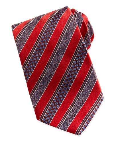 Ermenegildo Zegna Woven Satin-Paisley-Stripe Tie, Red