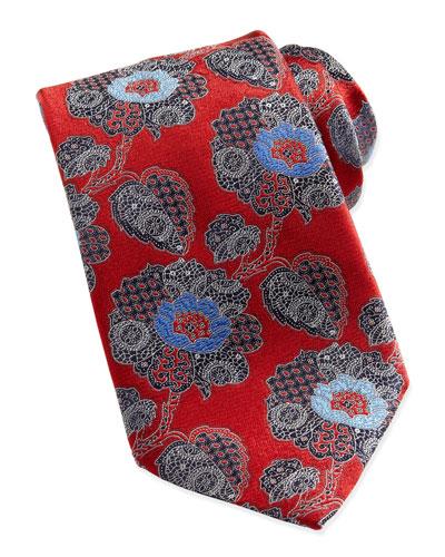 Ermenegildo Zegna Large Paisley-Floral Silk Tie, Red