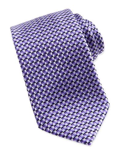 Ermenegildo Zegna Basket-Weave Silk Tie, Purple