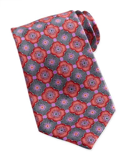 Ermenegildo Zegna Geometric-Floral Silk Tie, Red