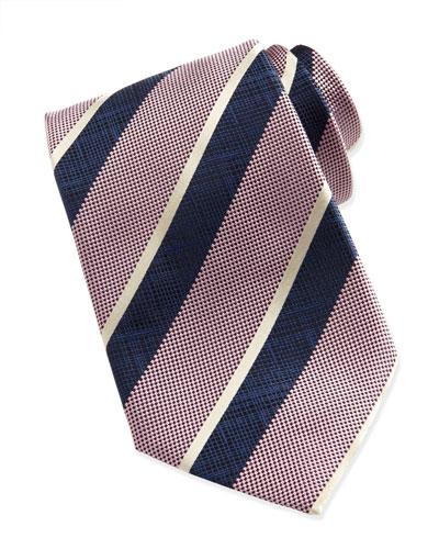 Ermenegildo Zegna Wide-Crosshatch Striped Tie, Pink