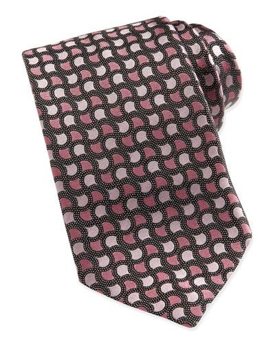 Ermenegildo Zegna Geo-Tear Dot-Ground Silk Tie, Pink