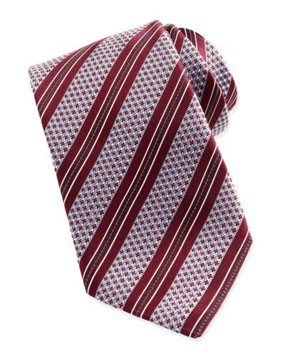 Ermenegildo Zegna Woven Textured Ground-Stripe Tie, Berry