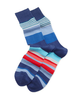 Paul Smith Varied Striped Socks, Blue